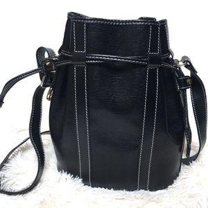 Lancel Vintage Pebbled Black Leather Bucket Bag
